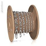 Seilwerk STANKE m 2mm Rundstahlkette kurzgliedrig METERWARE verzinkt Stahlkette -- DIN Eisenkette Stahl Eisen Kette abgerundet