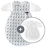 Alvi Baby Mxchen Original/Ganzjahres Baby-Schlafsack - 3-tlg. mit gefttertem Auensack und 2 Innenscken mit rmeln/mitwachsend/Birnenform - Triangel Silber Grau (56/62)
