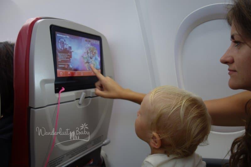 Unterhaltung im Flugzeug