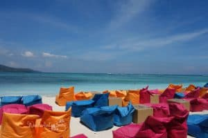 Sitzsäcke am Strand